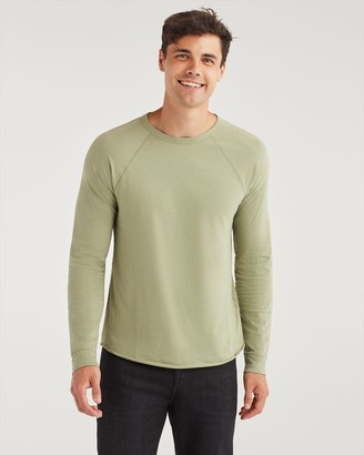 7 For All Mankind Long Sleeve Raglan Shirt in Light Army