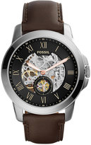 Fossil Men's Automatic Grant Dark Brown Leather Strap Watch 45mm ME3095, First at Macy's