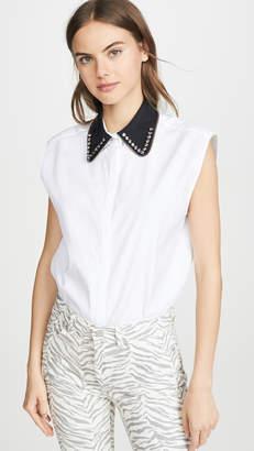 No.21 No. 21 Contrast Collar Sleeveless Top