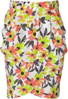 Anis Green Floral Print Silk Skirt