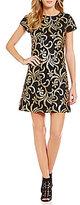 Jessica Simpson Short Sleeve Metallic Scroll-Sequin Sheath Dress