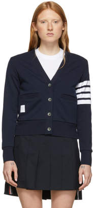 Thom Browne Navy Loopback Four-Bar Cardigan