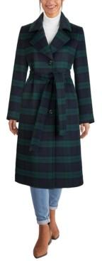 Jones New York Belted Plaid Maxi Coat