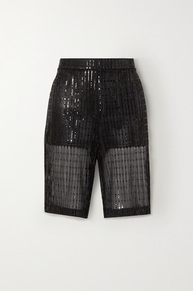 we11done Sequined Tulle Shorts - Black