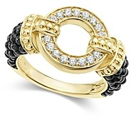 Lagos Circle Game Black Caviar Ceramic Ring with Diamonds and 18K Gold
