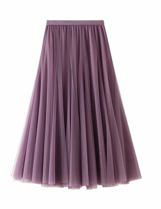 N / D Women Long Pleated Tulle Skirt A Line Elastic Waist Formal Wedding Party Midi Calf Skirts (Pink ONE Size)