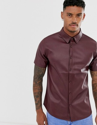 Another Influence PU faux leather short sleeve shirt
