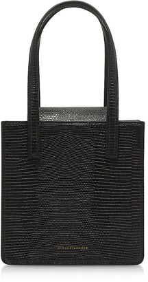 Marge Sherwood Square Black Lizard Embossed Leather Tote Bag