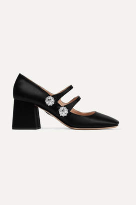 Miu Miu Crystal And Faux Pearl-embellished Satin Pumps - Black