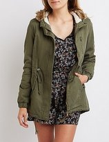 Charlotte Russe Sherpa Lined Hooded Anorak Jacket