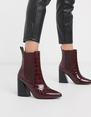 Asos DESIGN Rocco pointed heeled boots in burgundy croc