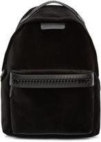 Stella McCartney Black Velvet Medium Falabella Go Backpack