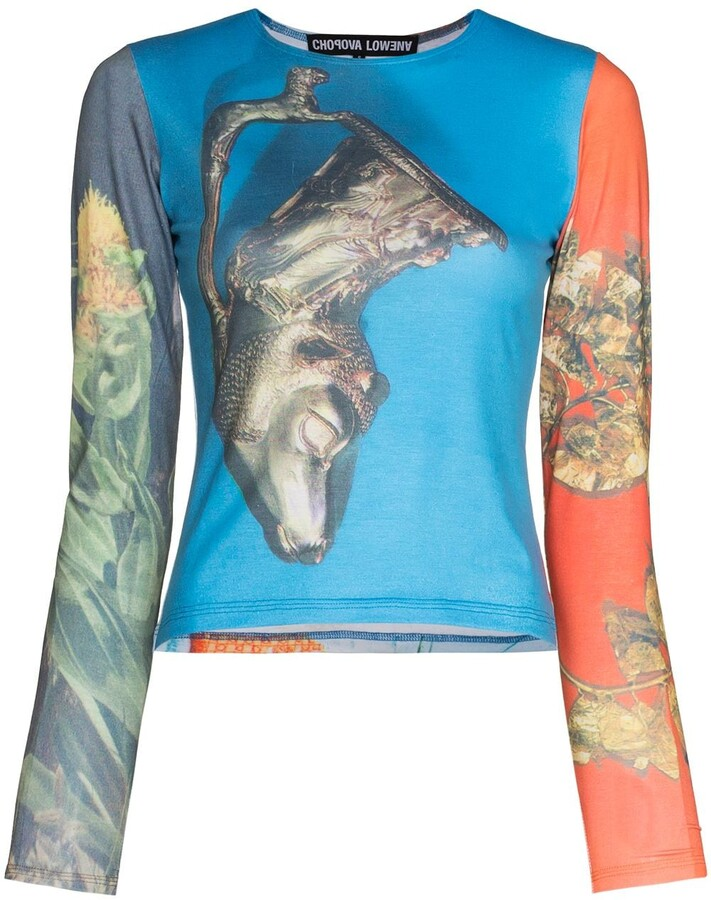 Thumbnail for your product : Chopova Lowena Panelled Graphic-Print Long-Sleeve Top