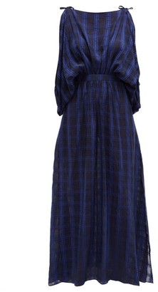 Binetti Love Draped Checked Voile Maxi Dress - Womens - Dark Blue