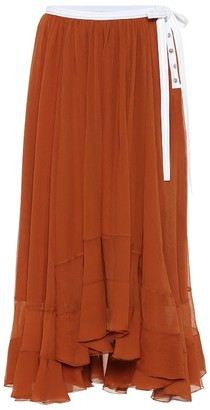 Chloé Tiered silk-chiffon midi skirt