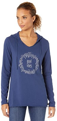 Life is Good Floral Good Vibes Long Sleeve Hooded Smooth Tee (Darkest Blue) Women's Clothing