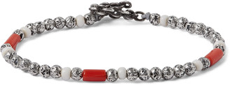 M. Cohen Oxidised Sterling Silver And Coral Beaded Wrap Bracelet