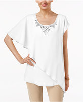 NY Collection Embellished Asymmetrical-Hem Top