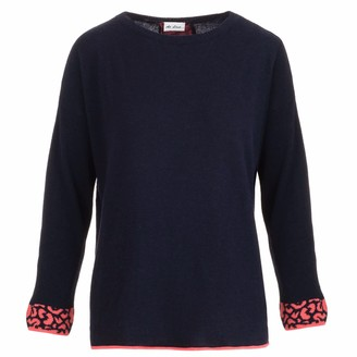 At Last... Navy Cashmere Sweater With Coral Leopard Stripe