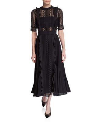 Self-Portrait Self Portrait Geometric Lace Pleated Midi Dress with Belt