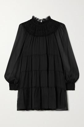 Alice + Olivia Kellyann Tiered Lace-trimmed Silk-chiffon Mini Dress - Black
