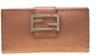 Fendi Rose Gold Metallic Leather Selleria Wallet