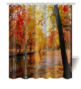 """Gwein Autumn Landscape Collection, Forest Tree Natural Scenery Red Leaves Stream Bath Home Decor of Waterproof Bathroom Polyester Fabric Mildew Resistant Shower Curtain 72""""(w)x72"""" (h)Inch"""