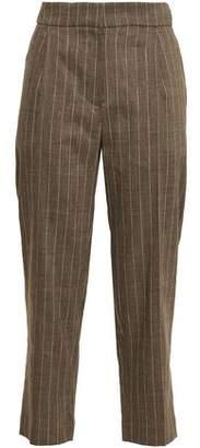 Brunello Cucinelli Cropped Pinstriped Linen-blend Straight-leg Pants