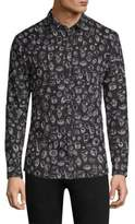 HUGO Scribble-Print Button Down Shirt