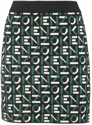 Kenzo Logo Intarsia Knit Mini Skirt