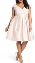 Adrianna Papell Plus Size Women's Pleat Taffeta Fit & Flare Dress