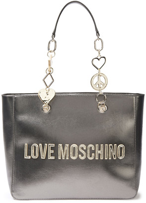 Love Moschino Embellished Metallic Faux Textured-leather Tote