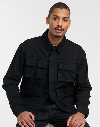 ASOS DESIGN denim jacket with utility pockets in black