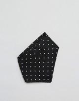 Asos Pocket Square Ready Folded In Black Polka Dot