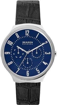 Skagen Grenen Stainless Steel Leather Strap Watch