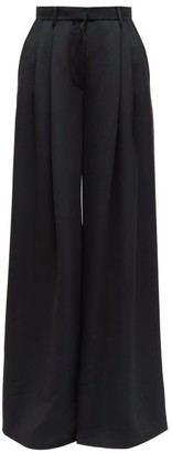The Row Ossie Pleated Twill Wide-leg Trousers - Womens - Black