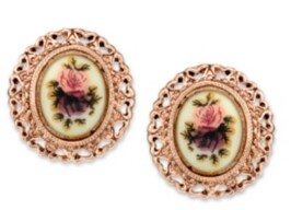 2028 Rose Gold-Tone Purple Flower Button Earrings