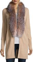 Neiman Marcus Cashmere Fox Fur Collar Cardigan