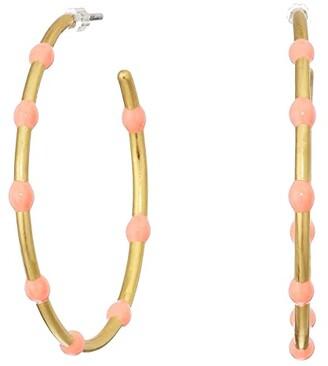 Madewell Delicate Enamel Hoop Earrings (Neon Coral) Earring