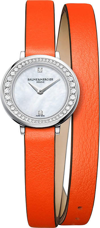 Baume & Mercier 10290 Petite Promesse leather and diamond watch