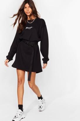 Nasty Gal Womens Word on the Street Mini Sweatshirt Dress - Black - S