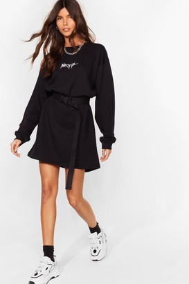 Nasty Gal Womens Word on the Street Mini Sweatshirt Dress - Black