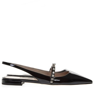 Miu Miu Black Patent Leather Open Toe Pointy Slippers