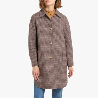 Meridot Oversized Checked Wool Mix Coat with Single-Breasted Buttons