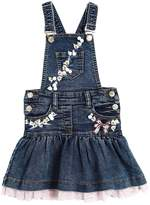 MonnaLisa Floral Embellished Denim Overall Dress