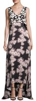 Elizabeth and James Sleeveless Floral High-Low Popover Gown, Black/Multicolor