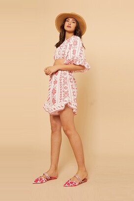 Little Mistress Red Aztec Printed Shorts Co-Ord