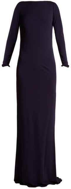 Azzaro Ava Crystal Embellished Jersey Gown - Womens - Navy