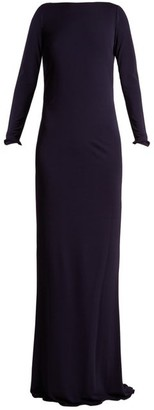 Azzaro Ava Crystal-embellished Jersey Gown - Navy