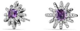 David Yurman Starburst Earrings With Amethyst And Diamonds, 12Mm